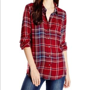Lucky Brand Bungalow Plaid Flannel Button Back