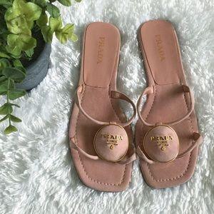 Prada Pink Suede Flat Sandals
