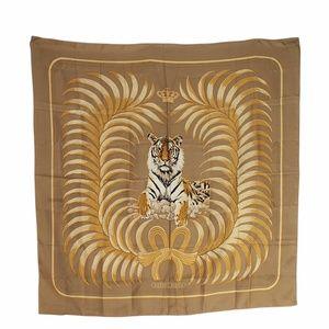 Hermes 'Tigre Royal' Motif Tan Silk Scarf (135484)