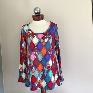 LULAROE lynnae stained glass long sleeve top S
