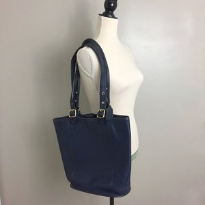 Vintage Coach Navy Blue Cowhide Leather Hobo Tote