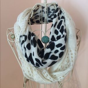 Dual pattern, black and white infinity scarf
