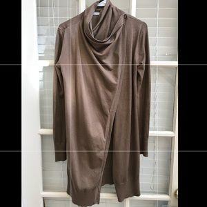 Zara medium brown long sweater cardigan cross fron