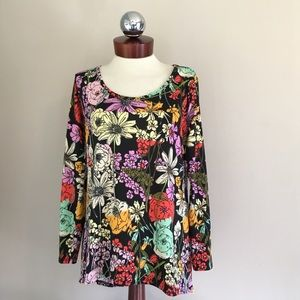 LULAROE lynnae retro floral long sleeve top S