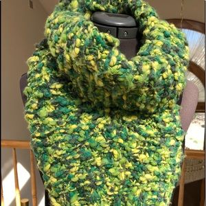 Nubby green, teal,  yellow & gray Scarf