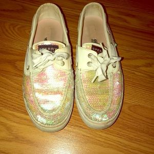Sperry Sparkle White Boat Shoes