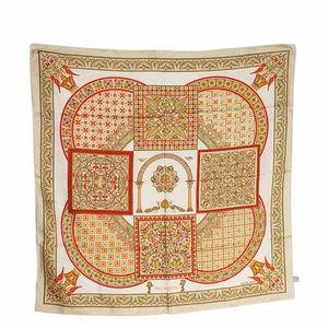 Hermes Ciels Byzantine Tan & Red Scarf (13550)