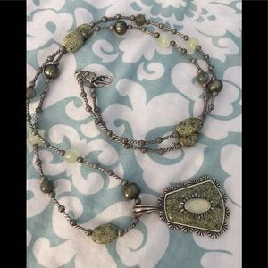 Carolyn Pollack Green Stone & Silver Necklace
