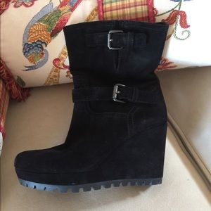 PRADA,black suede ankle boots
