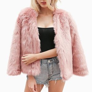 Jackets & Blazers - New Dusty Pink Shaggy Faux Coat, S-XXXL