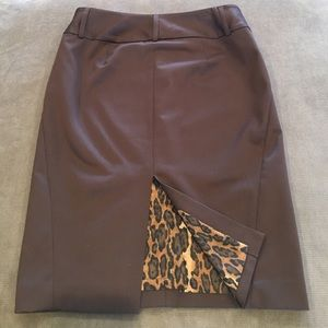 Express Brown Pencil Skirt w/Leopard Lining