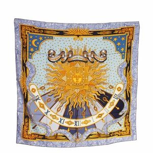 Hermes Carpe Diem Blue & Grey Silk Scarf (135508)