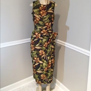 Maggy London 100% Silk Tropical Floral Dress