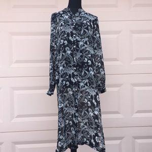 H&M long floral tunic size 4 black & white