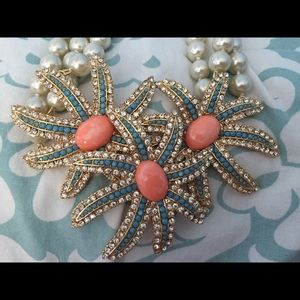Joan Rivers Pearl, Turq, Coral & Crystal Necklace