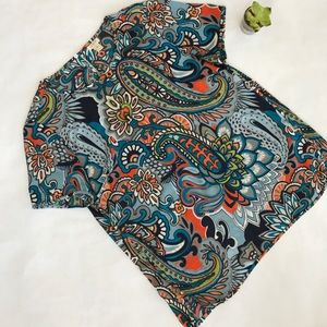 J. Crew shirt sleeve printed blouse. Sz M