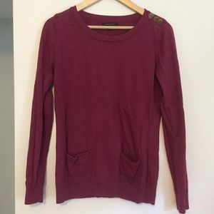 Berry-colored soft crewneck sweater