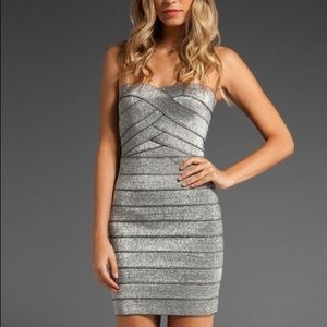Pleasure doing business silver bandage dress