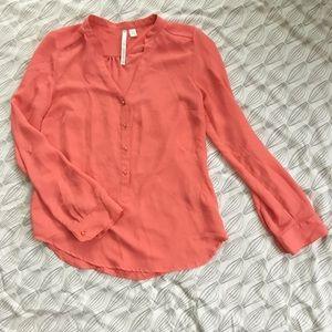 Lauren Conrad Coral long sleeve blouse