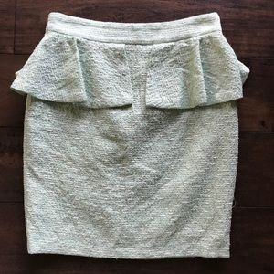 Zara Woman Green Peplum Lined Pencil Skirt