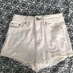 White BDG High Rise Shorts