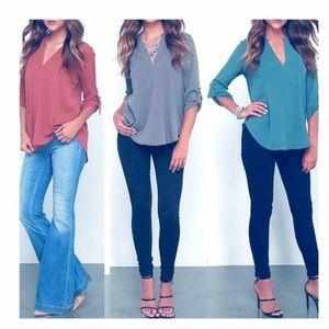 Women's Fashion V-neck Long  - Casual Tops