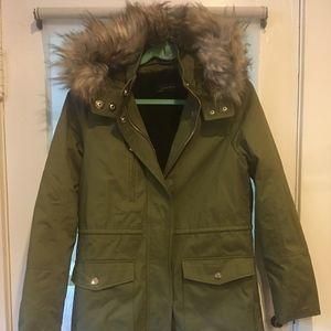Womens Parka Military Utility Jacket Coat Green
