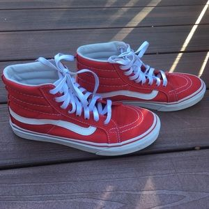 Vans red high tops size 7 1/2