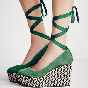 Free People Green Charade Espadrille Wedges