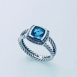 DY Petite Albion Ring with Blue Topaz/Diamond