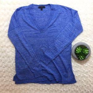 J. Crew womens Merino-linen V-neck sweater blue S