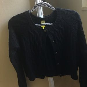 Cropped crew neck cardigan, NWT!