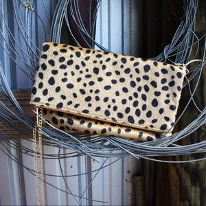 Leopard Print a Clutch with Detachable Chain