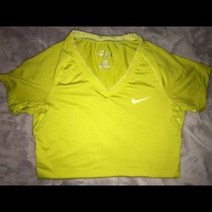 Lime Green Short Sleeve Nike Pro Dry Fit