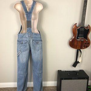 Vintage 90s Blue denim cotton suspender overalls