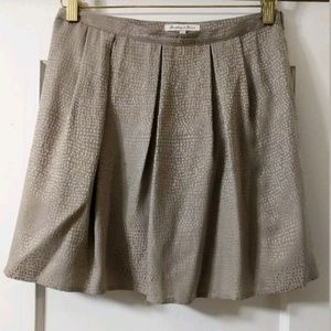 Broadway & Broome Silk Dot Pleated Taupe Skirt