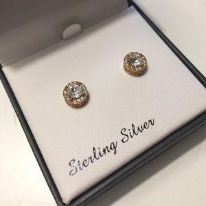 Rose Swarovski Crystal Stud Earrings