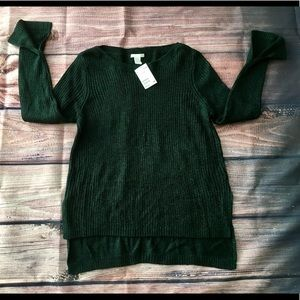 NWT H&M Forrest green w/ glitter sweater