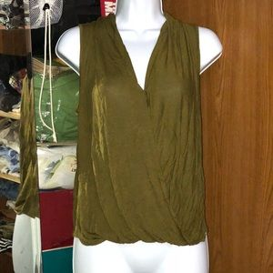 F21 Olive Green Surplice Top