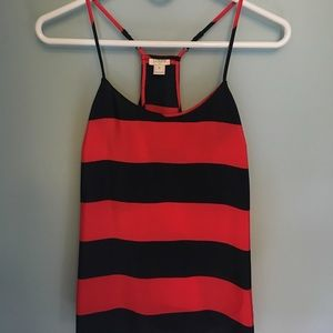 J Crew navy and red stripe spaghetti strap tank