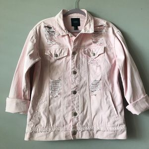 F21 light pink distressed oversized denim jacket