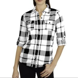 French Laundry White Plaid Button Down Shirt