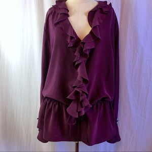 DVF Silk Assets Purple Ruffle Long Sleeve Top