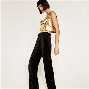 681d1a9b69156e Zara Tops - BNWT ZARA Gold leather ruffle Crop top   sz XS