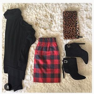 JCrew Red and Black Buffalo Plaid Skirt
