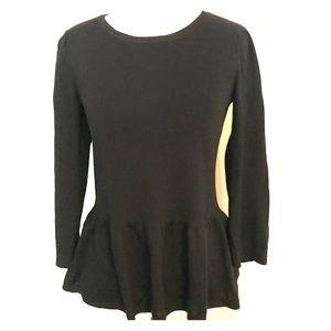 Ann Taylor Loft Black Peplum Sweater Small