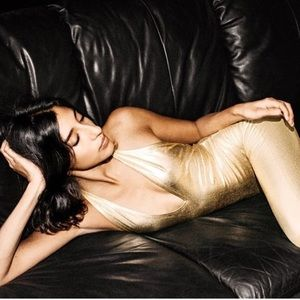 American Apparel Gold Lame Halter Catsuit