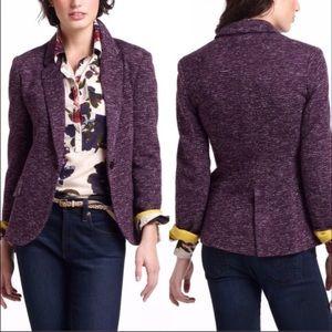 Cartonnier Anthropologie Dashes Purple Knit Blazer