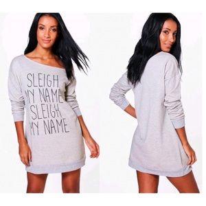 Christmas Sleigh My Name Sweat Off Shoulder Dress