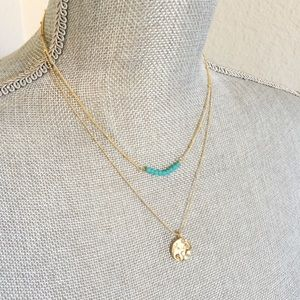 NEW NORDSTROM Layering Necklace Gold & Blue